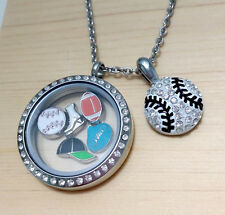 QUALITY Personalized Floating Charms Locket Stainless Steel Necklace Baseball