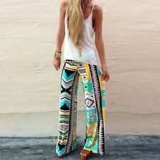 Women Aztec Printed Casual High Waist Wide Leg Long Pants Palazzo Trousers AK