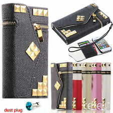 Luxury Diamond Rivet Leather Flip Wallet Case Cover For iPhone 4 4s 5 5s 5c pt15