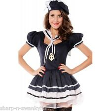 NEW Ladies Sexy Navy Sailor Hen Do Halloween Fancy Dress Costume Outfit 8-18