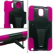 for Samsung Galaxy Note 3 - BLACK & HOT PINK T-Stand Hybrid Cover