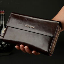 Men's Genuine Leather Zipper Clutch Long Wallet Purse Handbag Card Checkbook Bag