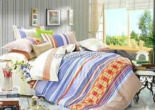 QUEEN KING 100% Cotton Sateen Quilt Cover Set Geometric Stripe Intricate Pattern