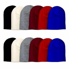 New Plain Mens Womens Unisex Plain Beanie Skull Hat Cap Winter Thick Knit Solid