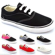 Kids Boys Girls Flat Pumps Canvas Plimsolls Lace Up Casual Trainers Size 12-2.5