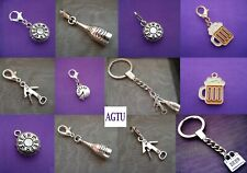 PICK YOUR CHARM Silver Wine Lovers Bottle Opener Beer Keyring Keychain Drink