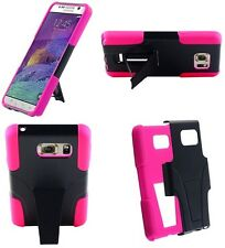 for Samsung Galaxy Note 5 - BLACK & HOT PINK T-Stand Hybrid Cover