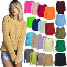 Womens Ladies PLAIN COLOUR BAGGY JUMPER Chunky Sweater Knitted Casual TOP