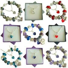 SWAROVSKI Element Crystal Heart Charm Bracelet & Necklace PERSONALISE Gift Boxes