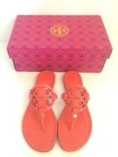 NWB Tory Burch Miller Micro Print Poppy Red Thong Sandals Flat Shoes