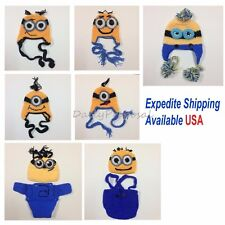 Minions Boy Girl Boy Kid Toddler Handmade Knit Crochet Beanie Costume Hat Photo