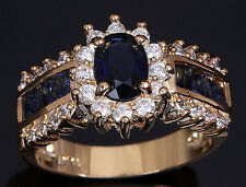 Fashion Women's Simulated Sapphire 6ct  Cut AAA CZ  Cocktail Ring Sz ,6,7,8,9,