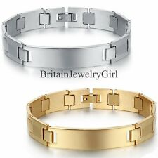 12MM Mens Stainless Steel Chain Bracelet Silver Gold Tone Link Bangle 8.4 Inch