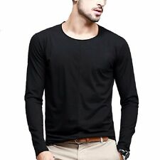 Mens Slim Fitted Round Collar Long Sleeve Splice Elasticity Casual T-Shirt M~XXL
