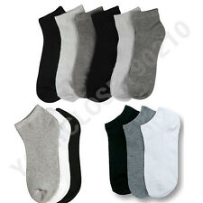 12 Pairs Lot Men Women 9-11 10-13 Crew Ankle Cut Fashion Socks Black White Gray
