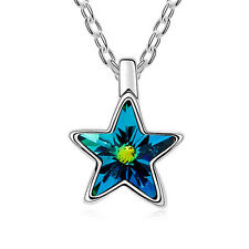 Mondaynoon Austrian Crystal Star Chain Pendant Necklace Gold Plated Sweet Women