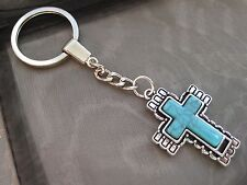 NEW PICK YOUR CROSS Mobile Phone Keychain Keyring Silver Cross Turquoise Charm