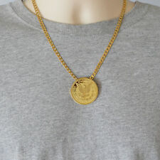 1896 Morgan Eagle Coin Pendant Necklace 24k Gold Plated Mens Necklaces