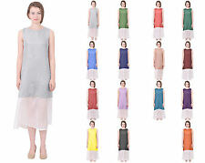 MARY CRAFTS WOMENS 100% SILK CASUAL LONG MID CALF ELEGANT COLOR BLOCK DRESSES