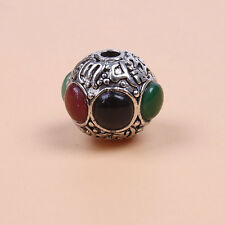 Retro Silver Tone Alloy Nice Colorful Resin Rhinestone Round Spacer Beads DIY L