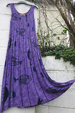 SLEEVELESS MAXI DRESS TIE DYE FISH DESIGN 10 COLOURS 12 - 26  ETHNIC BOHO HIPPY