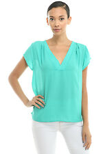 Women Fashion 2003 Made In USV-neckline Short Sleeve Pleated Detail Blouse