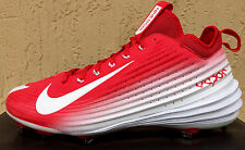 Mens Nike Lunar Vapor Trout Baseball Cleats Size 12 White/Red (METAL)