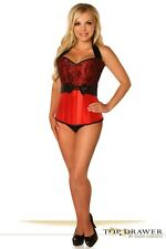 Daisy Corsets Top Drawer Red Lace & Bow Halter Steel Boned Sexy Corset Bustier