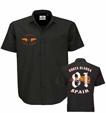 01 New! Hells Angels Big Red Machine Dickies Style Flaming Wing Support81 Shirt