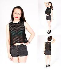 Womens Crop Top Ladies All Mesh Lace Fishnet  Sleeveless Stretch Vest T Shirt