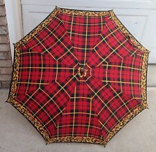 New Red Checkered with Aluminum Silver Accented Black Hook Handle Long Umbrella