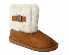 WOMENS CHESTNUT FULLY FUR LINED CUFF FLAT CASUAL WINTER ANKLE BOOTS LADIES 3-8