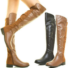 New Round Toe Slouch Stack Low Flat Heel Over The Knee Thigh High Riding Boot US