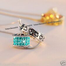 Turquoise Heart & Ring Pendant Chain Necklace Engraved Love UK Xmas Gift For Her