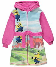 Girls Despicable Me Minions Fleece Hooded Zip Dressing Gown Robe 2-12 Years NEW