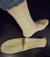 Hand Knitted 100% Wool Socks Pure Natural White Handmade Cold Weather Socks