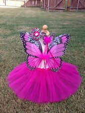 Monarch Butterfly Costume Wings Wand Set Halloween Girl 2T-5T Hotpink