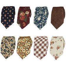 Men Fashion 6CM Floral Cotton Skinny Slim Narrow Necktie Wedding Party Tie