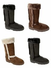WOMENS FULLY FAUX FUR LINED THICK RUBBER SOLE MID CALF WINTER BOOTS LADIES 3-8