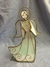 White Stained Glass Angel Votive Candle Holder With Silver Trim And Harp
