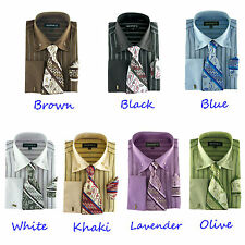 Men's Classic George Dress Shirt with Matching Tie and Handkerchief  AH-601