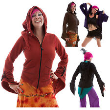 WIZARD SLEEVES HOODED PIXIE FLEECE JACKET, cyber, psy trance, festival clothing