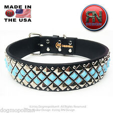 RN Design :: Glass Cabochon Studded Dog Collar :: LEATHER :: CUSTOM HANDMADE
