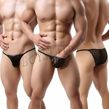 Black Mens Sexy Gridding Mesh Sheer Bikini Brief Underwear Breathable Underpants