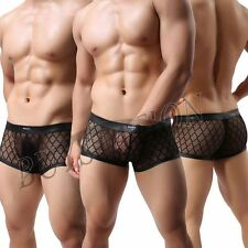Hot Sexy Mens Mesh Sheer Gridding Boxer Briefs Underwear Lingerie Trunks Shorts