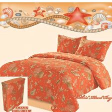SEASHELLS & STARFISH CORAL QUILT SET W/SHAMS KING~QUEEN SIZES COASTAL TROPICAL