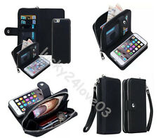 Luxury PU Leather Purse Zipper Wallet Case Card Cash Holder For iPhone /Samsung