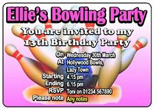 PERSONALISED BOWLING BIRTHDAY PARTY INVITE / INVITES /  INVITATION CARDS