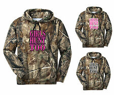 Girls Hunt Too Camo Hoodie Country Gun Hat Outdoor Ladies Women Love Pink Cold