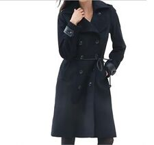 Women's Winter Fall Lambswool blend Black long trench coat jacket plus 2X 3X new